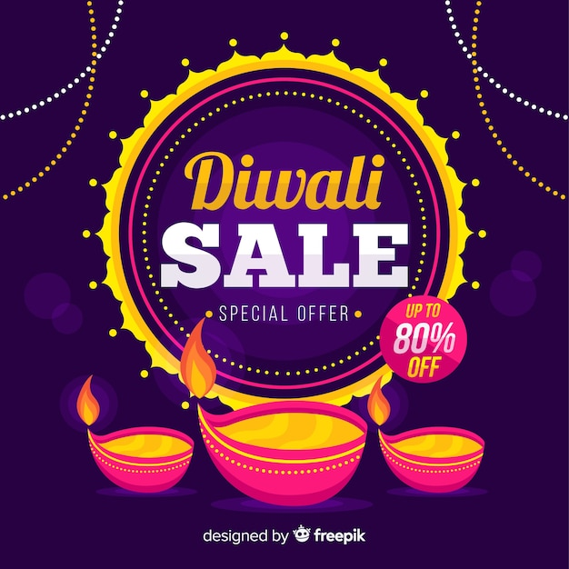 Flat diwali sale with special offer Free Vector