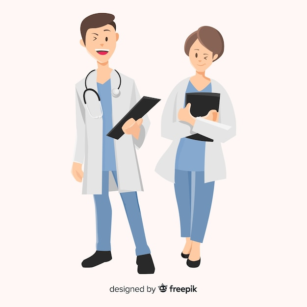 Flat doctor character Free Vector