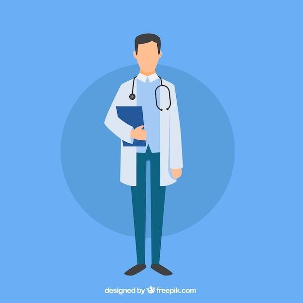 Плоский врач с буфером обмена Premium векторы