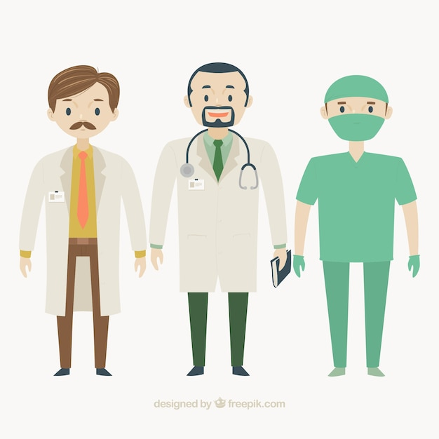 Flat doctors and surgeon Free Vector