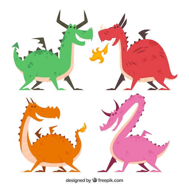bd2d6e2c9f0 Flat dragon character collection with fun style Free Vector