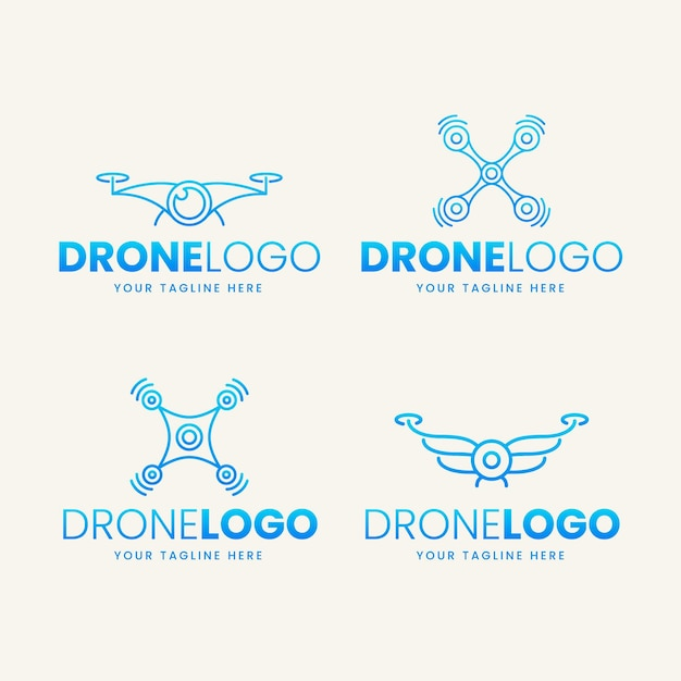 Flat drone logo collection Free Vector