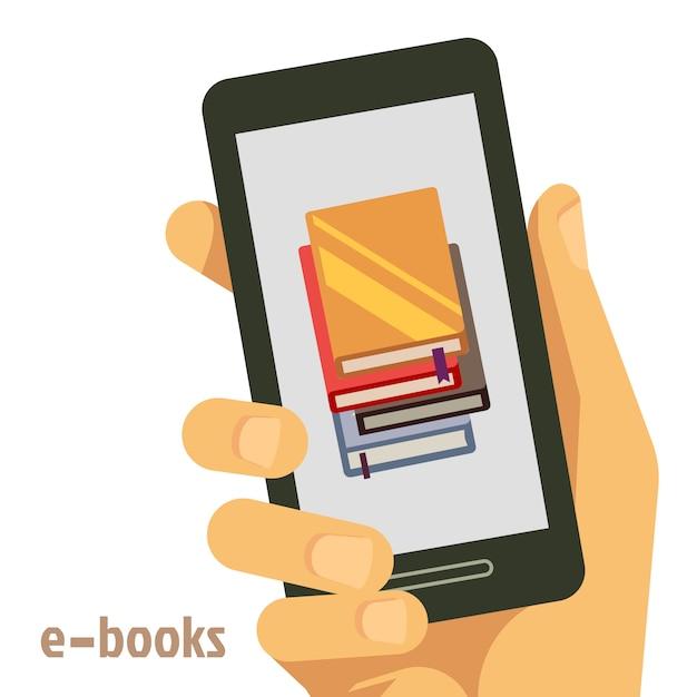 Flat e-books concept with smartphone in hand Premium Vector