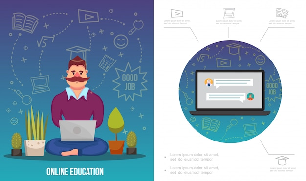 Flat e-learning infographic template with man working on laptop plants notebook and different online education icons Free Vector