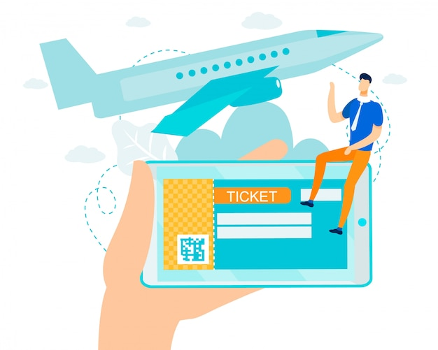 Flat e-ticket with barcode for flight on mobile Premium Vector