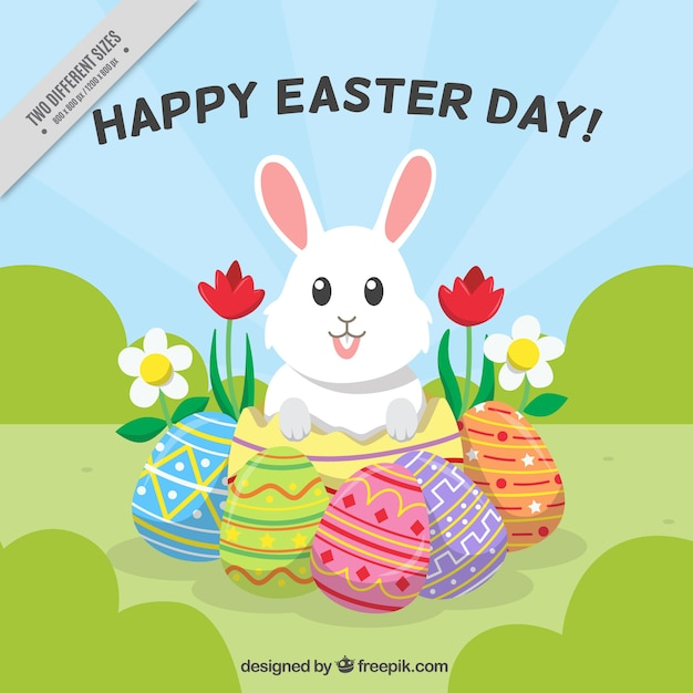 Flat easter background with cute bunny and eggs