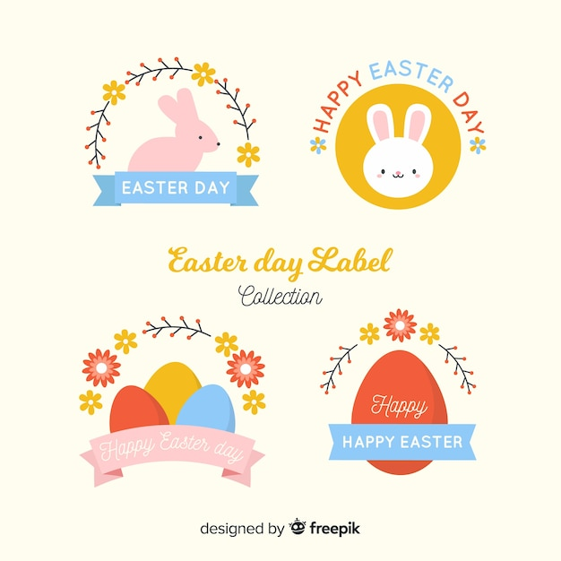 Flat easter badge collection Free Vector