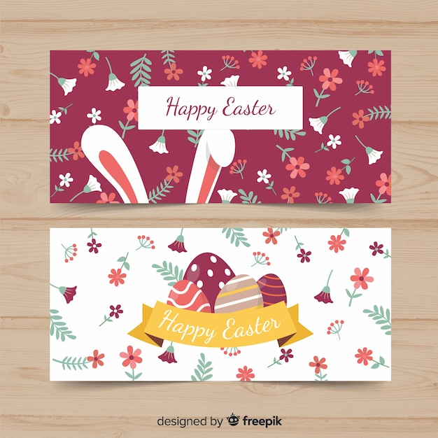 Flat easter banner Free Vector