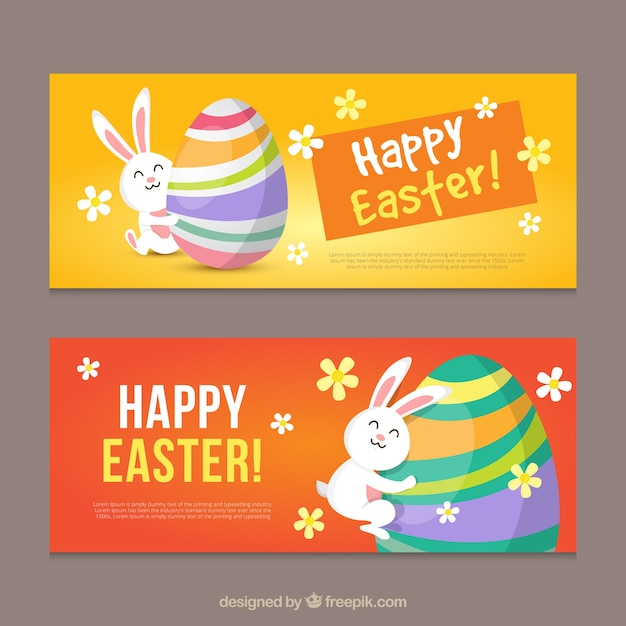 Flat easter banners of bunny hugging a colorful egg