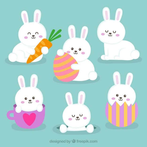 Flat easter bunnies collection Free Vector
