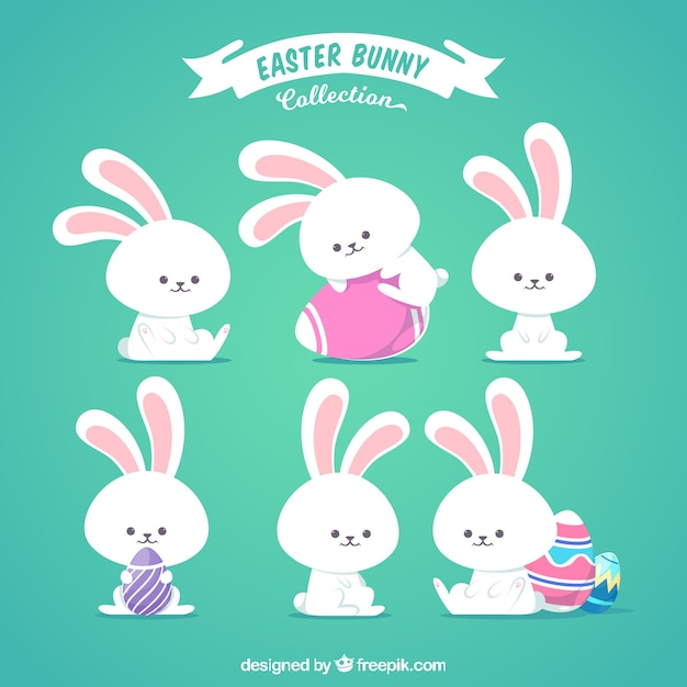 Flat easter bunny collection Free Vector