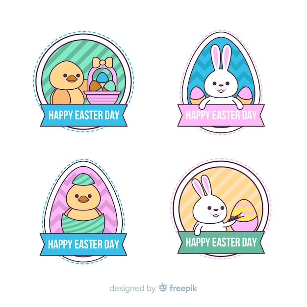 Flat easter day badge collection Free Vector