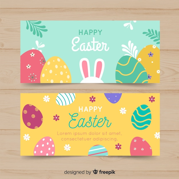 Flat easter day banner Free Vector