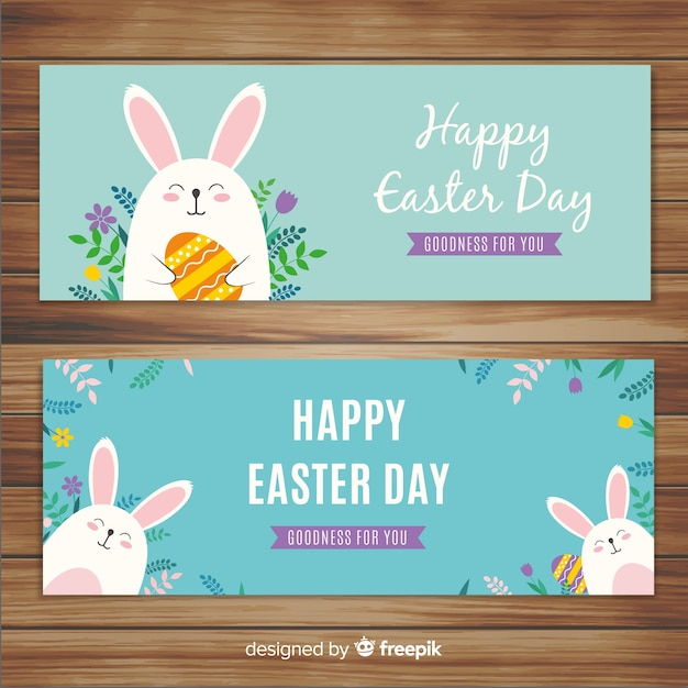 Flat easter day banners Free Vector