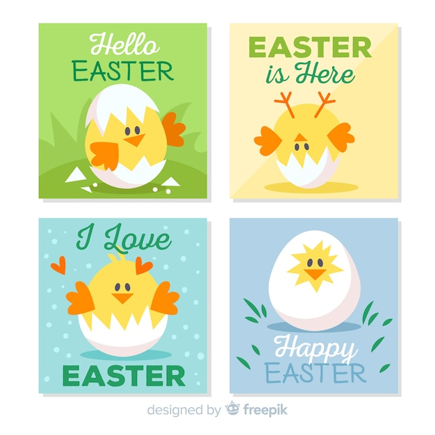 Flat easter day card collection Free Vector