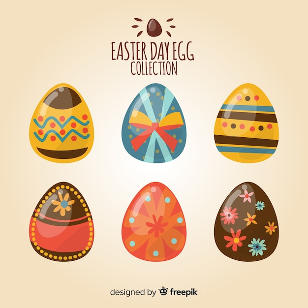 Flat easter day egg collection Free Vector
