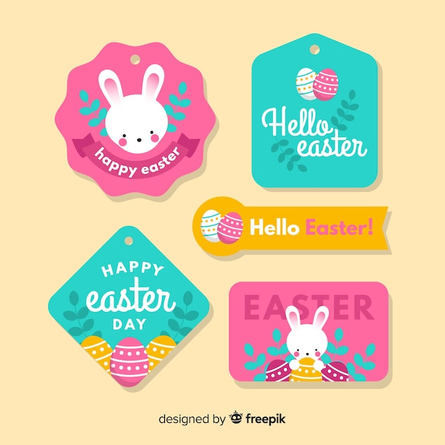 Flat easter day label collection Free Vector