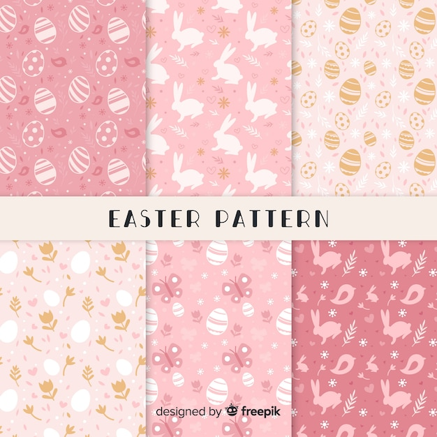 Flat easter day pattern collection Free Vector