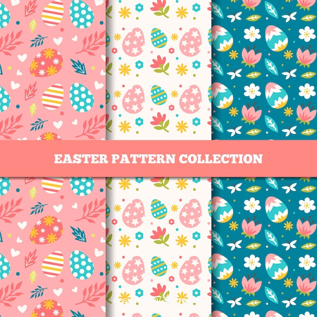 Flat easter day pattern Free Vector
