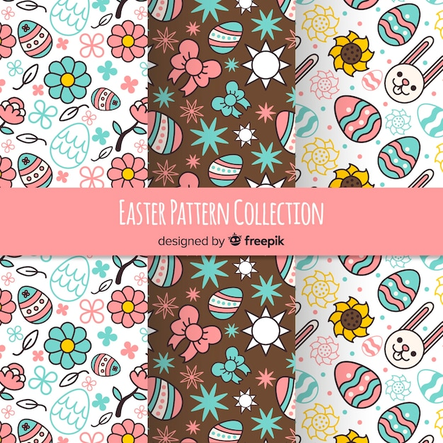 Flat easter pattern collection Free Vector