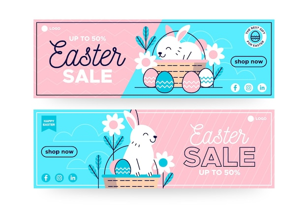 Flat easter sale banner Free Vector