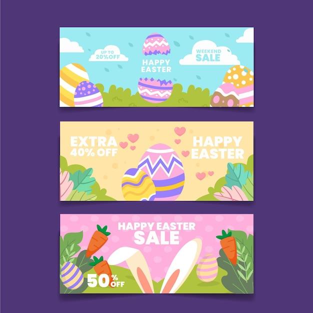 Плоский пасхальный баннер продажи Premium векторы