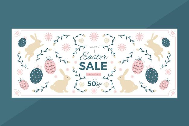 Banner orizzontale di vendita piatta di pasqua Vettore gratuito