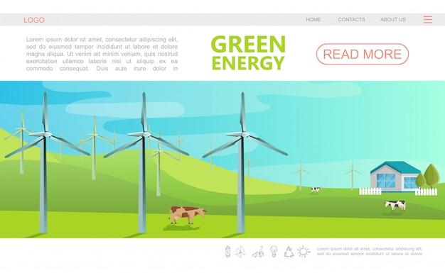 Плоский экологический красочный шаблон веб-страницы с меню навигации, ветряными мельницами, коровами и эко-домом Бесплатные векторы