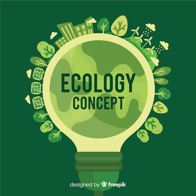 Flat ecology concept with lightbulb Free Vector