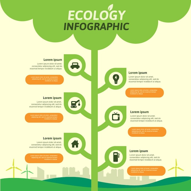 Flat ecology infographic with retro colors Free Vector