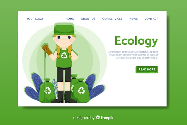 Flat ecology landing page template Free Vector