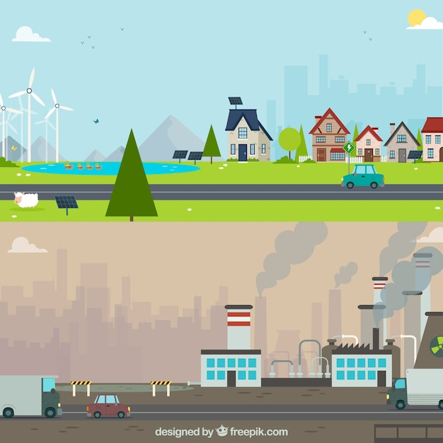 Flat ecosystem and pollution concept Free Vector