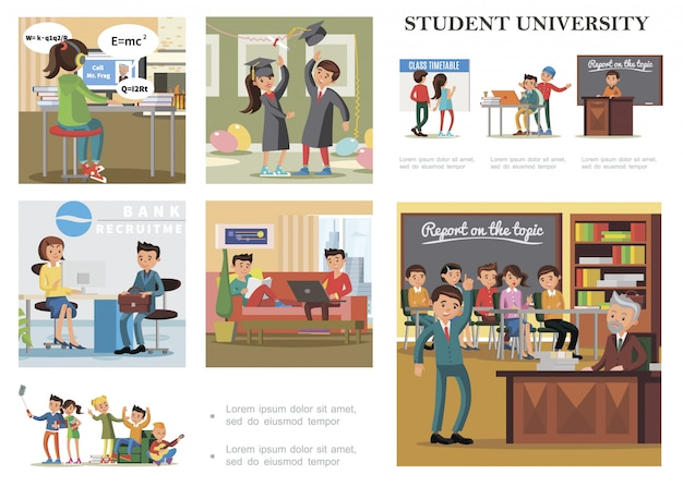 Flat education colorful composition with students learning studying relaxing getting job taking exam and celebrating graduation from university Free Vector