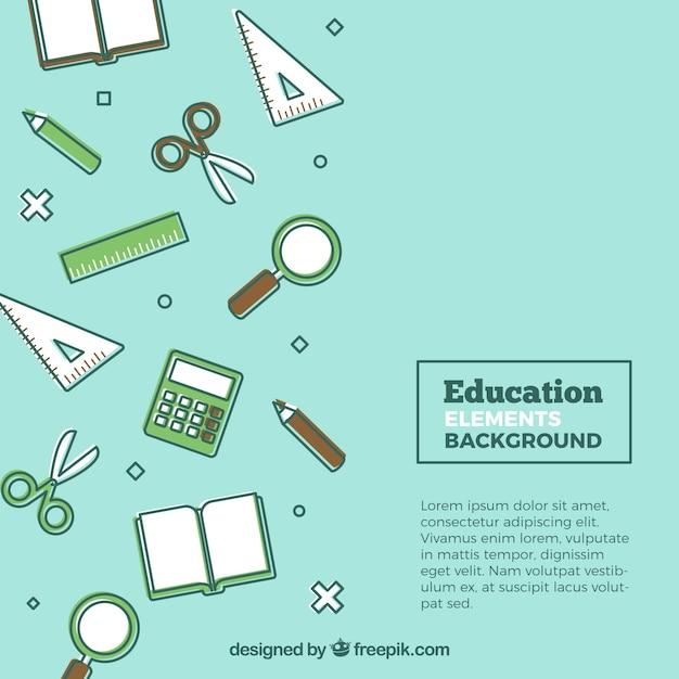 Flat education elements background