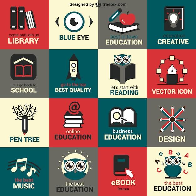 Flat Education Symbols Set Vector Free Download
