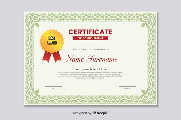 Flat educational certificate of achievement Free Vector
