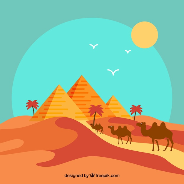 Flat egypt pyramids landscape with camel\ caravan