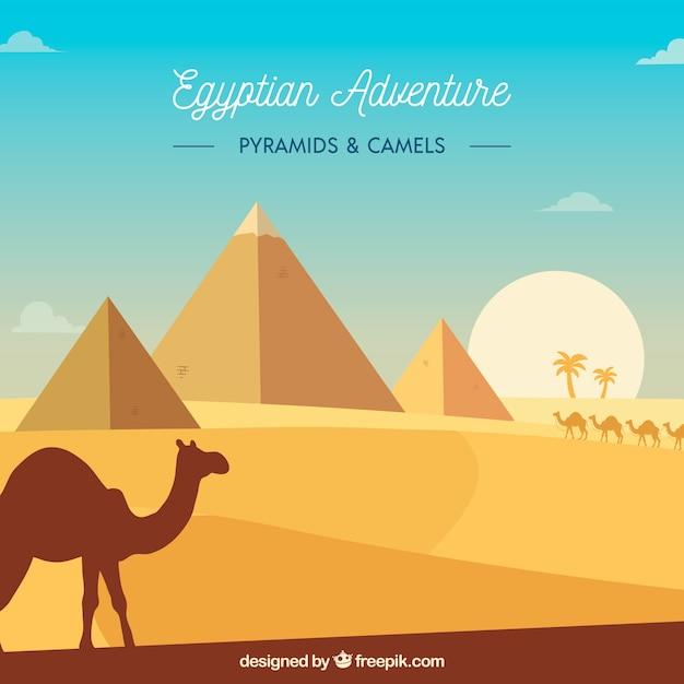 Flat egypt pyramids landscape with caravan of camels Vector