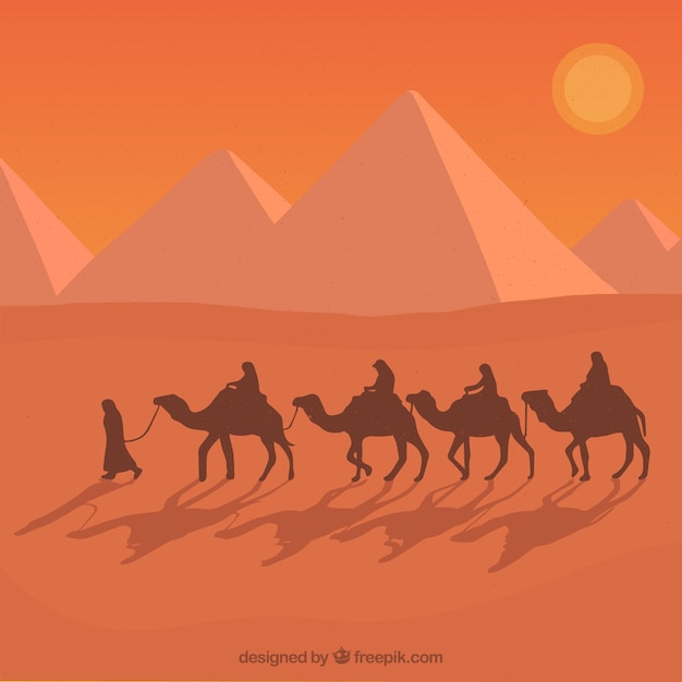 Flat egypt pyramids landscape with caravan of camels Free Vector