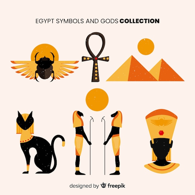 Flat Egyptian Symbols And Gods Collection Vector Free Download