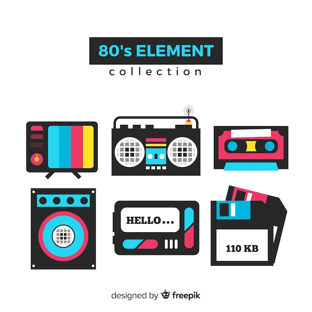 Flat eighties element collection Free Vector