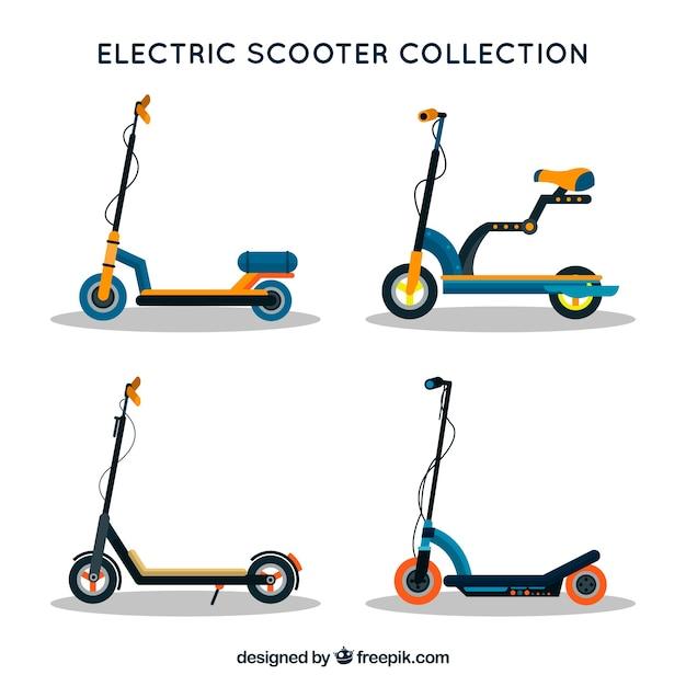 Набор плоских электрических скутеров Premium векторы