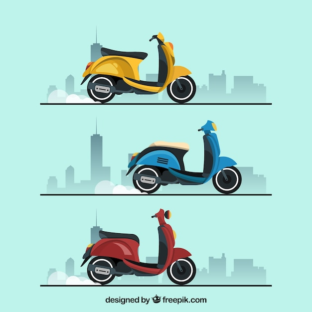 Flat electric scooter collection Free Vector