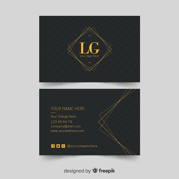 Flat elegant business card template Free Vector