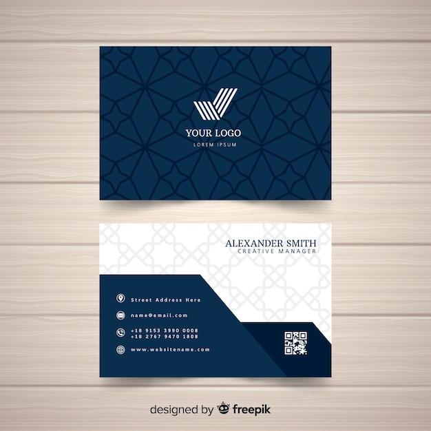 Flat elegant business card template Free Vector