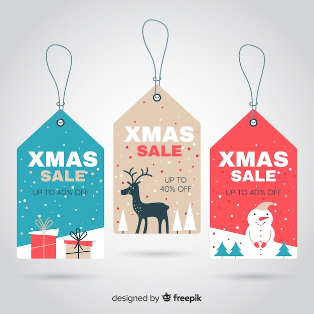 Flat elements christmas sale label collection Free Vector