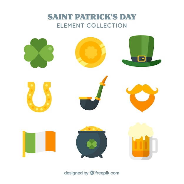 Flat elements collection for st patricks day Free Vector