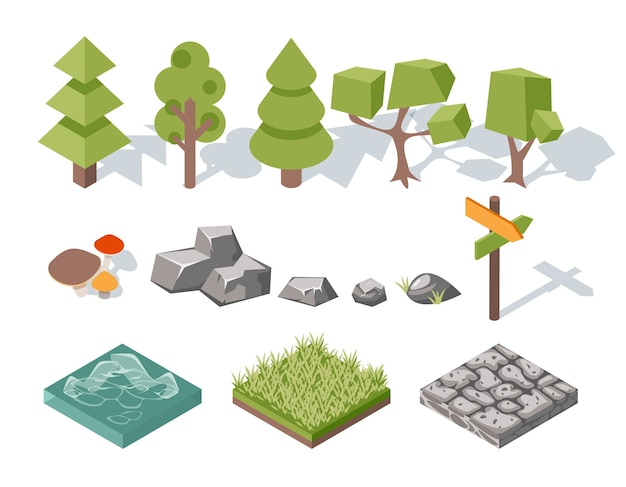 Flat elements of nature. trees and bushes, rocks and water, grass and mushrooms, landscape design. vector illustration Free Vector