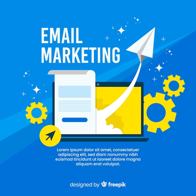 Flat email marketing Premium Vector