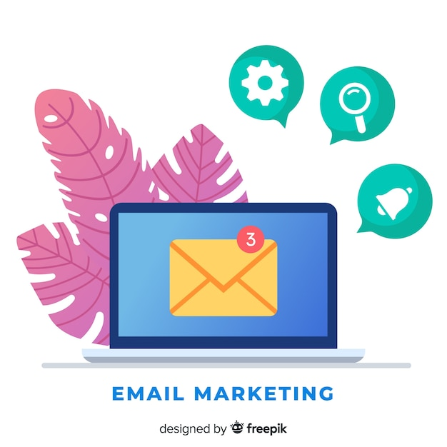 Flat email marketing Free Vector